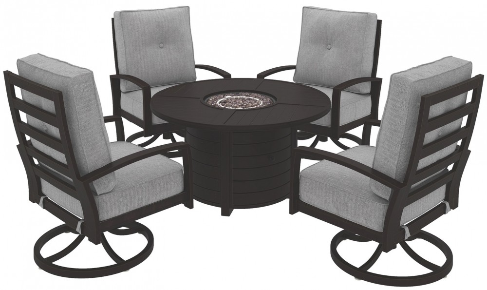 Castle Island - Outdoor Fire Pit Table and 4 Chairs