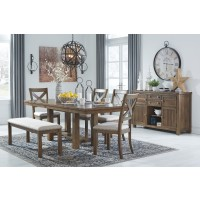 Moriville - Dining Table and 4 Chairs and Bench