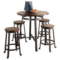 Challiman - Counter Height Dining Table and 4 Barstools