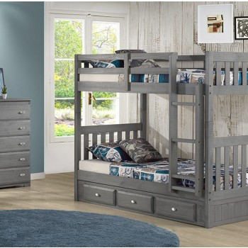 Charcoal Twin over Twin Bunk Bed
