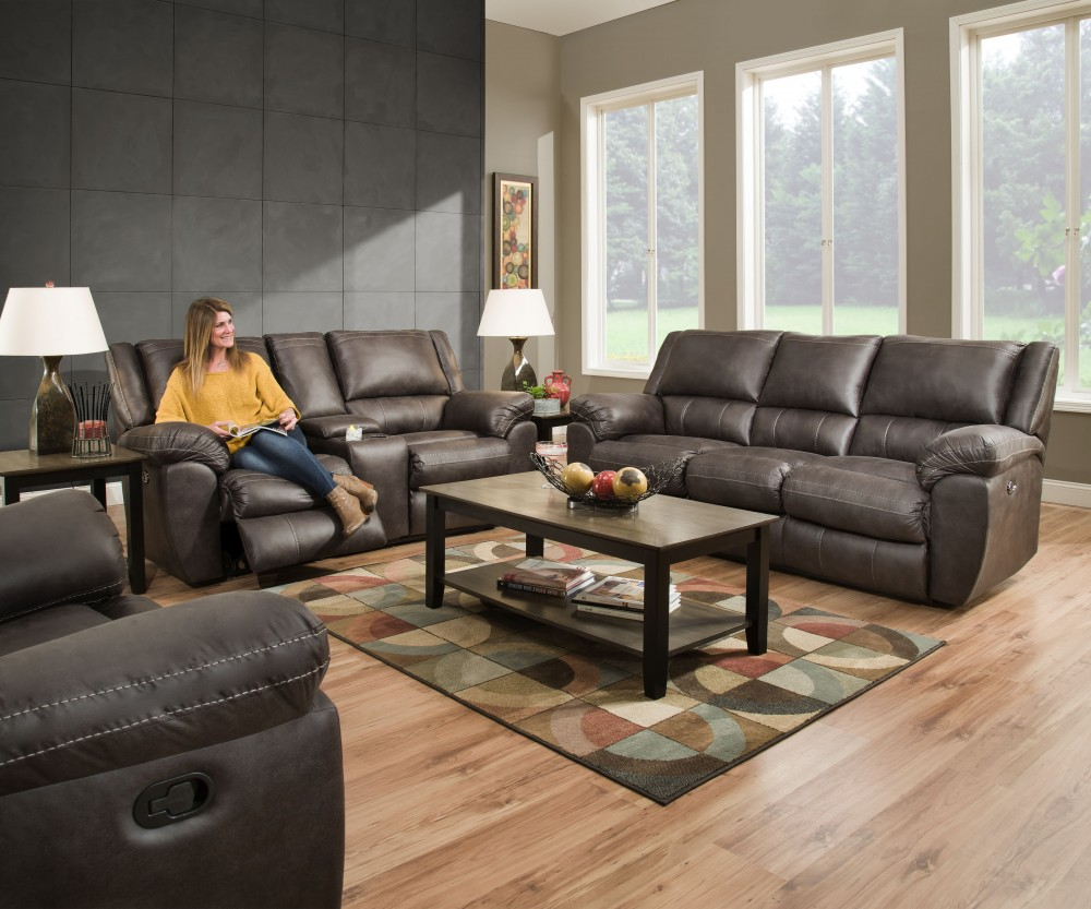 Shiloh Granite Reclining Sofa & Reclining Loveseat with Console