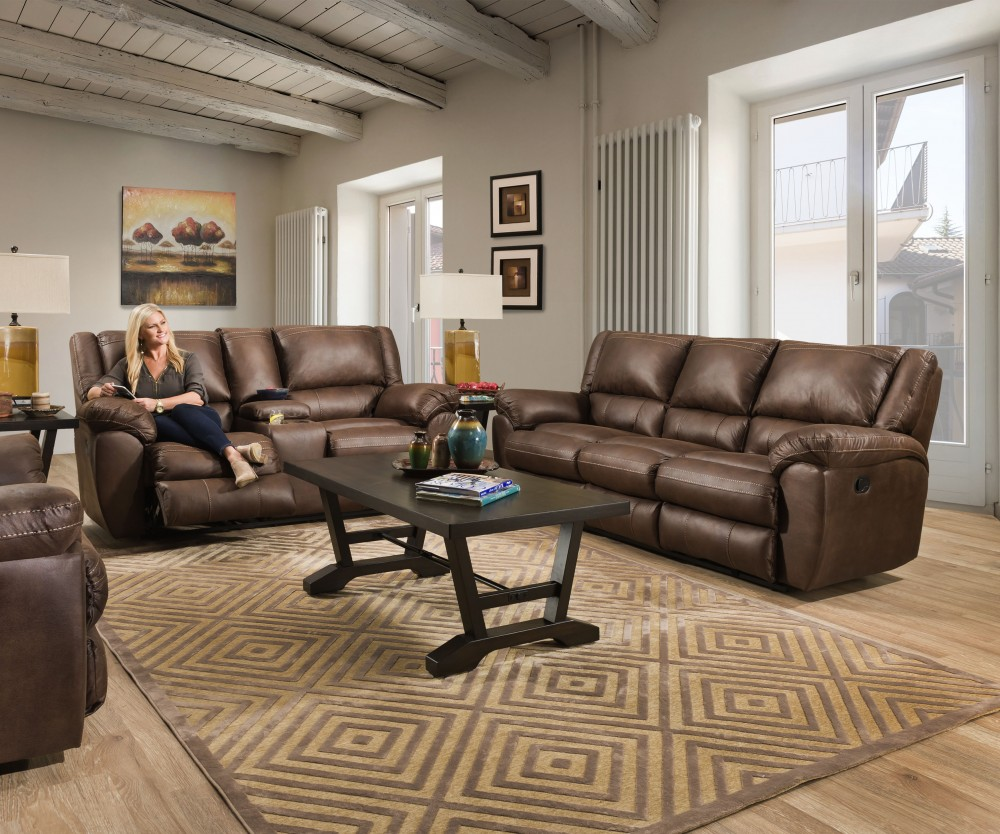 Shiloh Sable Reclining Sofa & Reclining Loveseat with Console