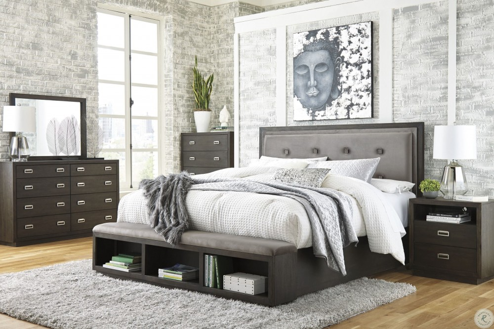 Ashley Hyndell Dark Brown Upholstered Platform Storage Bedroom Set