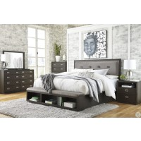 Ashley Hyndell Dark Brown Upholstered Platform Storage Bedroom Set