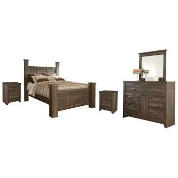 Juararo - Queen Poster Bed with Mirrored Dresser and 2 Nightstands