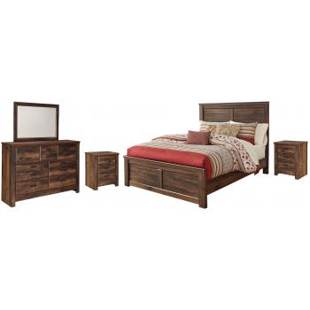 Quinden - Queen Panel Bed with Mirrored Dresser and 2 Nightstands