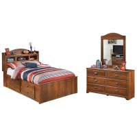 Barchan - Full Bookcase Bed with 2 Storage Drawers with Mirrored Dresser