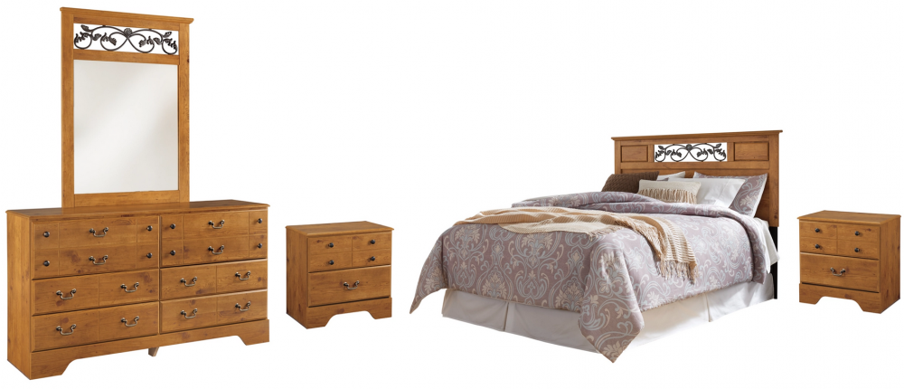 Bittersweet - Queen/Full Panel Headboard Bed with Mirrored Dresser and 2 Nightstands