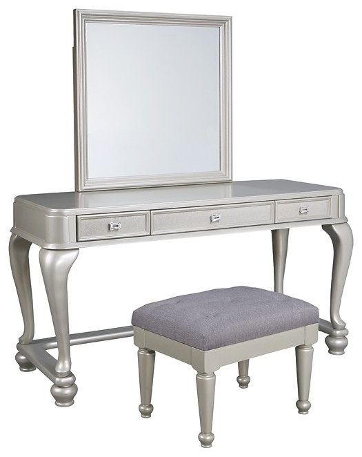 Coralayne - Youth Mirrored Vanity with Chair
