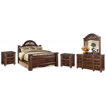 Gabriela - Queen Poster Bed with Mirrored Dresser and 2 Nightstands