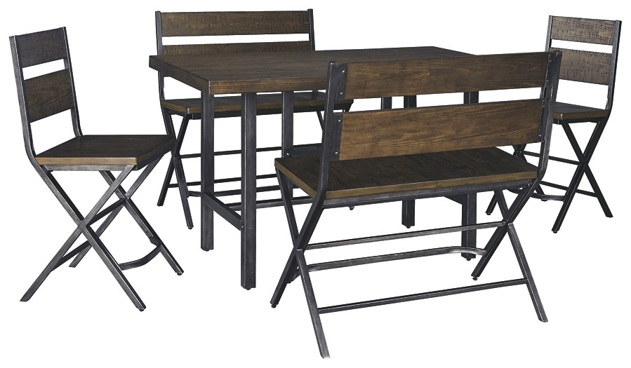 Kavara - Counter Height Dining Table and 2 Barstools and 2 Benches