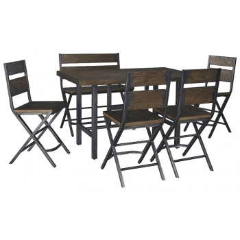 Kavara - Counter Height Dining Table and 4 Barstools and Bench