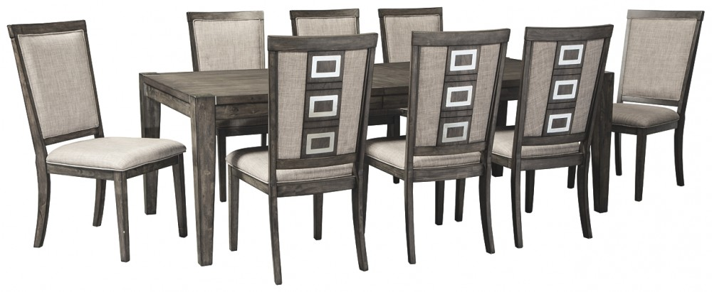 Chadoni Dining Table And 8 Chairs D624 01 8 35 Kitchen Dining Room Table Sets National Mattress Furniture Warehouse