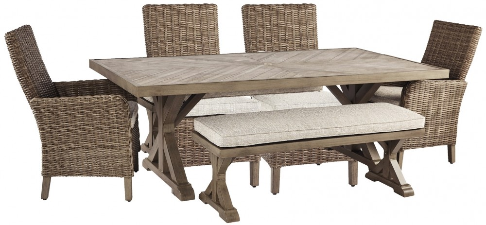 Beachcroft - Outdoor Dining Table and 4 Chairs and Bench