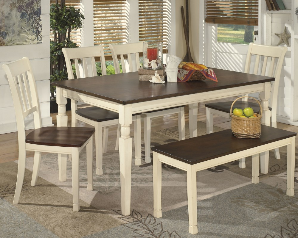 Whitesburg Dining Table And 4 Chairs And Bench D583 00 02 4 25 Dining Room Groups Akins Furniture
