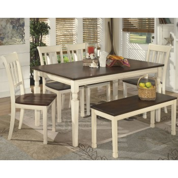 Whitesburg - Dining Table and 4 Chairs and Bench