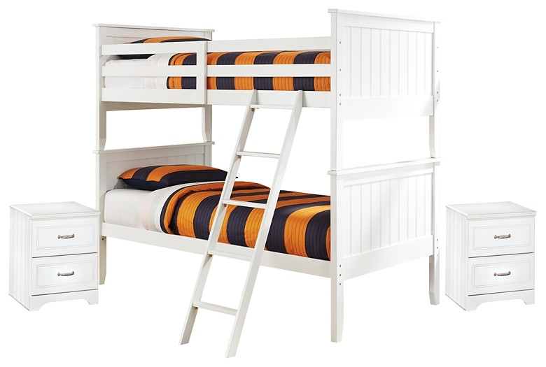 Lulu - Twin over Twin Bunk Bed with 2 Nightstands