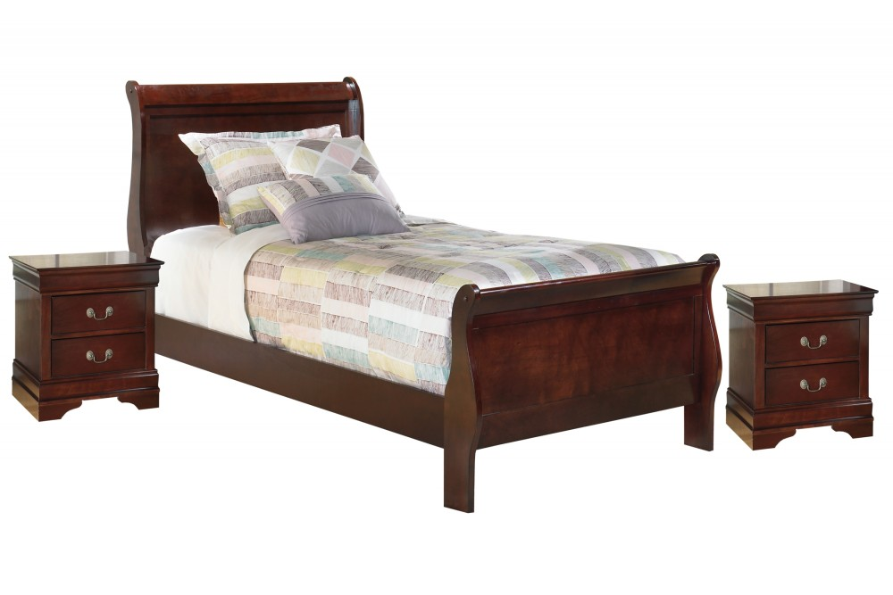 Alisdair - Twin Sleigh Bed with 2 Nightstands