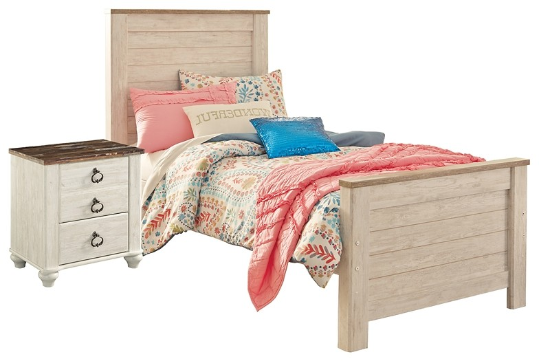 Willowton - Twin Panel Bed with Nightstand