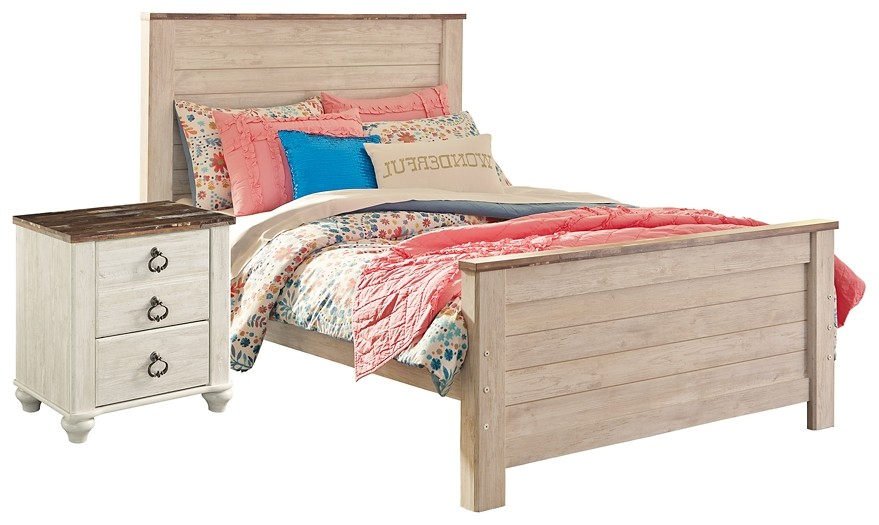 Willowton - Full Panel Bed with Nightstand