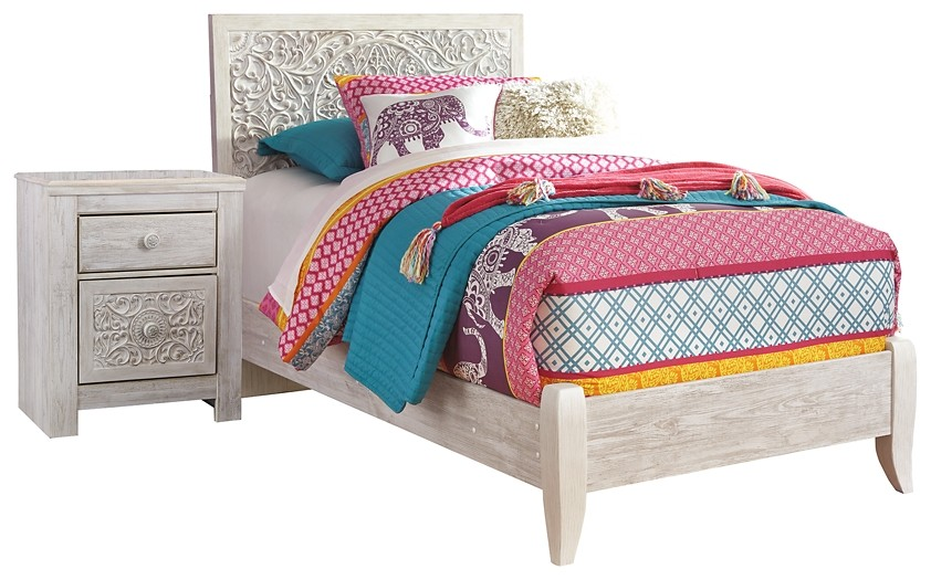 Paxberry - Twin Panel Bed with Nightstand
