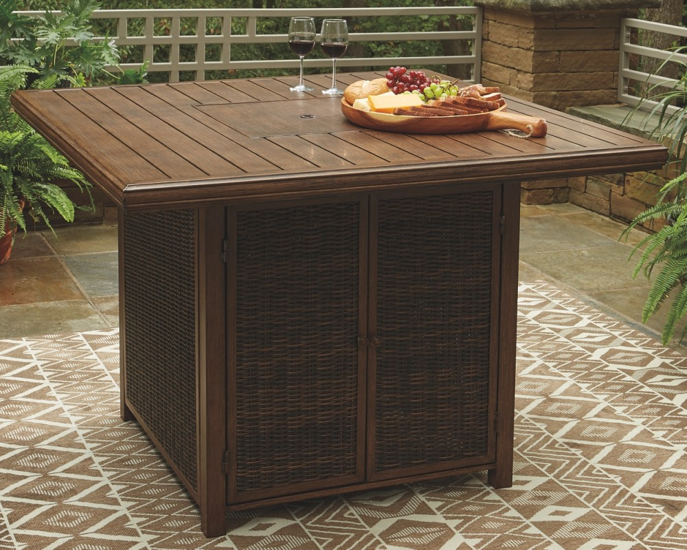 Paradise Trail - Square Bar Table w/Fire Pit