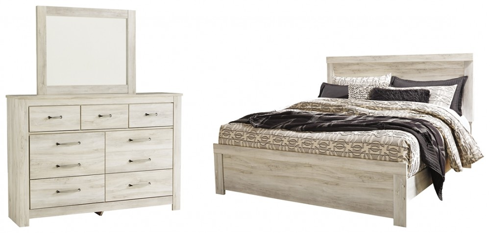 Bellaby - King Panel Bed with Mirrored Dresser