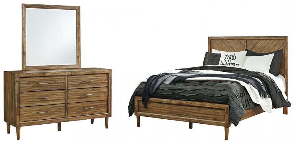 Broshtan - Queen Panel Bed with Mirrored Dresser