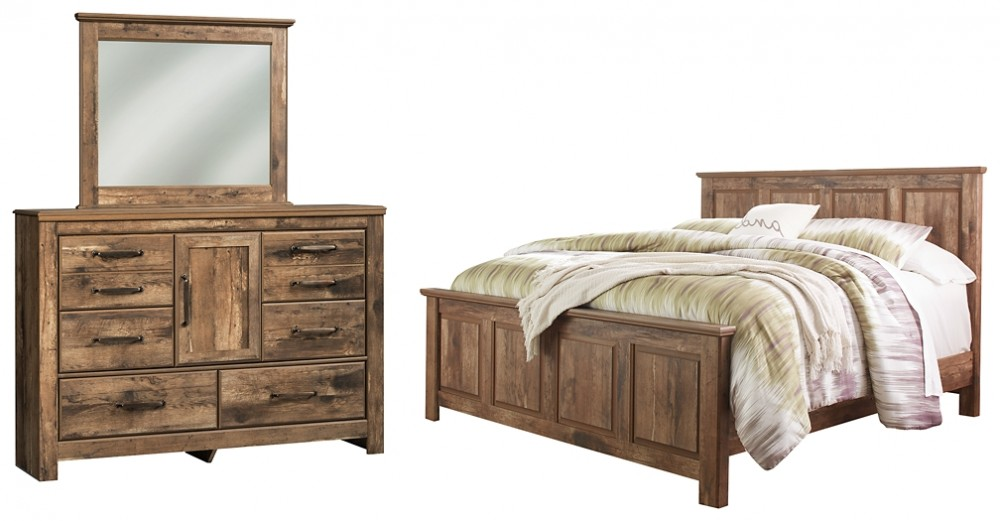 Blaneville - King Panel Bed with Mirrored Dresser