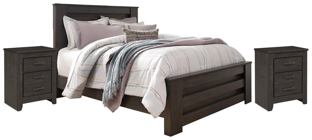 Brinxton - Brinxton Queen Panel Bed with 2 Nightstands