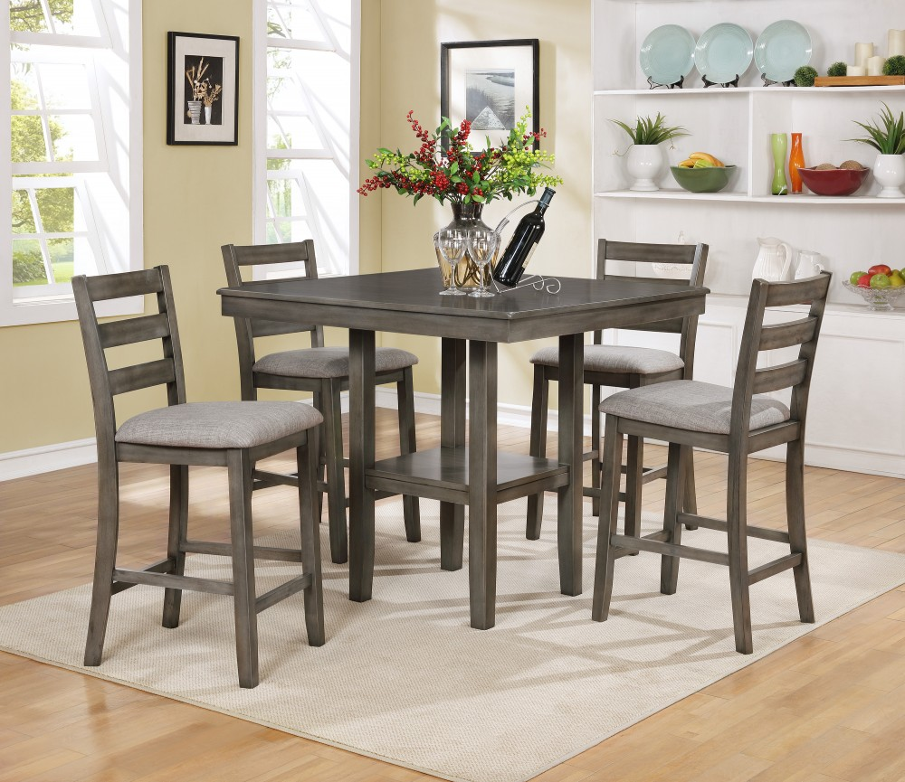 Gray Pub Table + 4 Chairs