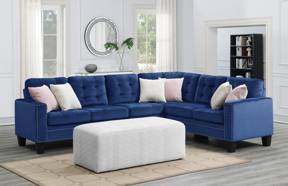 Melanie 2 Pc Sectional Blue U169 Mal Sect Silv No Ott Blue Sectional Sofas Price Busters Furniture
