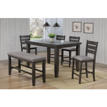 Bardstown Counter Height Table 4 chairs and Bench Gray