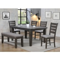 Bardstown Table 4 chairs and Bench Gray