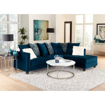 Melon Saphire Sectional with Nailhead