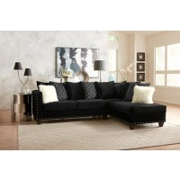 Black with Nailhead Sectional