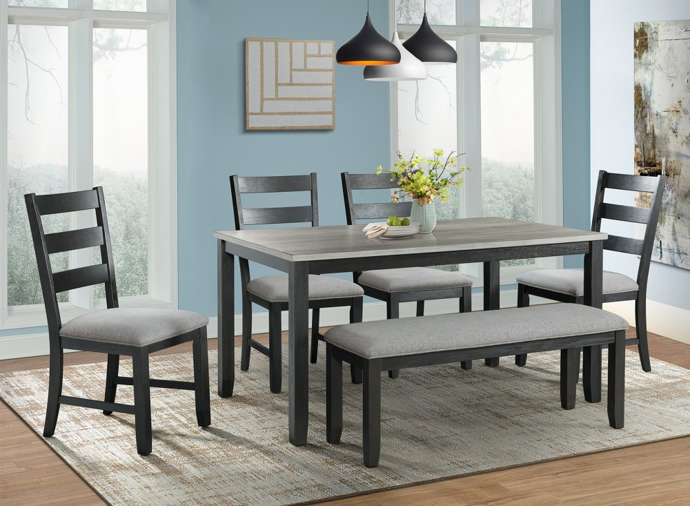 Marina Table + 4 Chairs + Bench