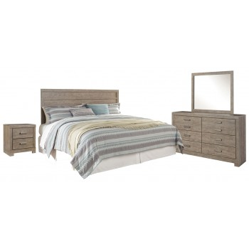 Culverbach - King Panel Headboard with Mirrored Dresser and 2 Nightstands
