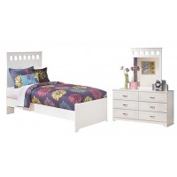 Lulu - Twin Panel Bed with Mirrored Dresser