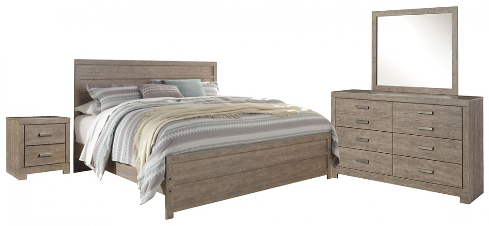 Culverbach - King Panel Bed with Mirrored Dresser and 2 Nightstands