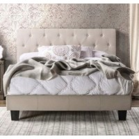 Beige Linen Queen Bed Frame