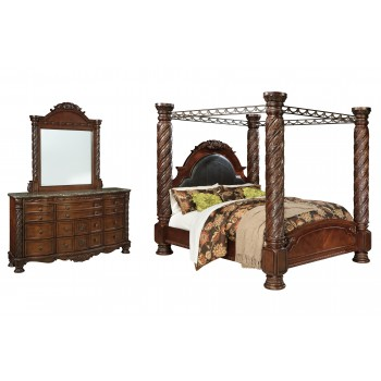 North Shore - California King Poster Bed with Canopy with Mirrored Dresser