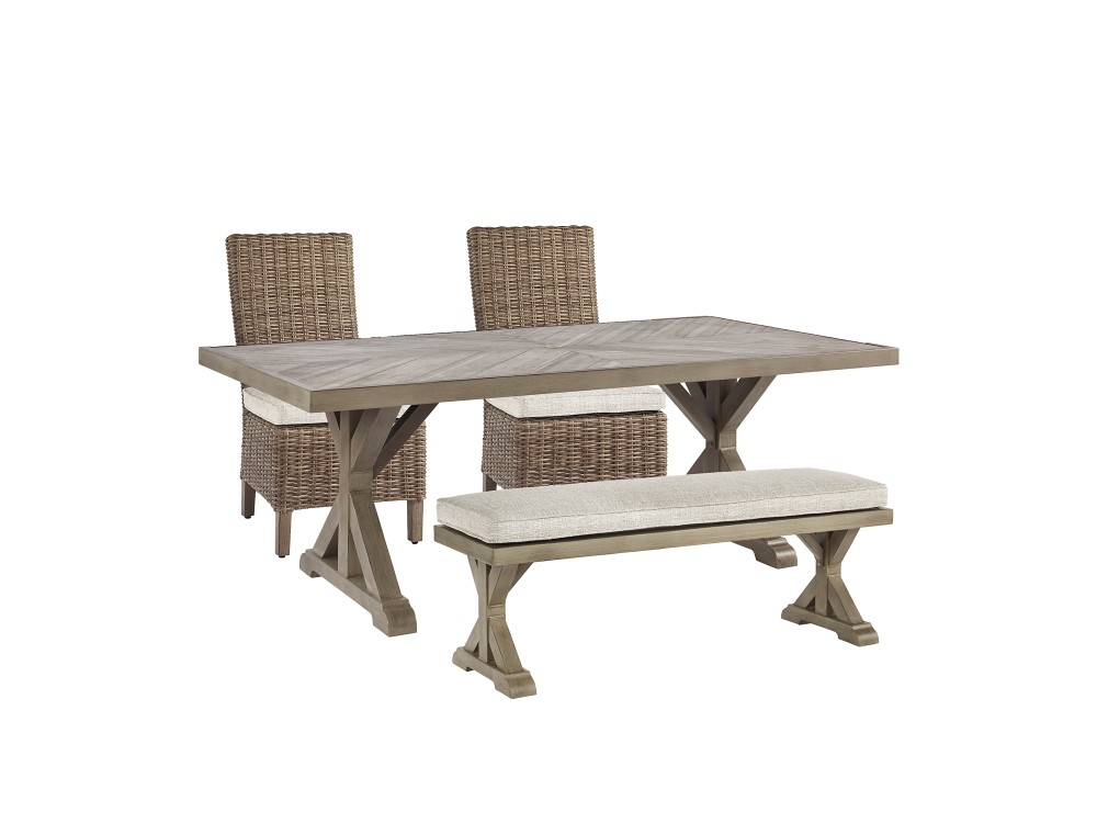 Beachcroft - Outdoor Dining Table and 2 Chairs and 2 Benches
