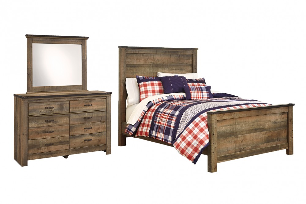 Trinell - Full Panel Bed with Mirrored Dresser