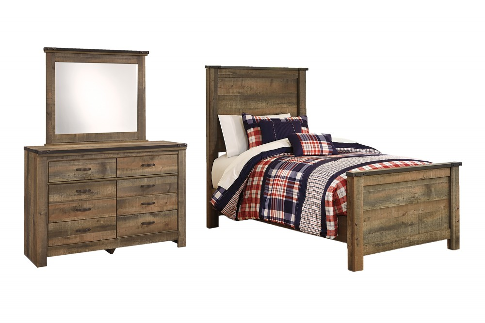 Trinell - Twin Panel Bed with Mirrored Dresser