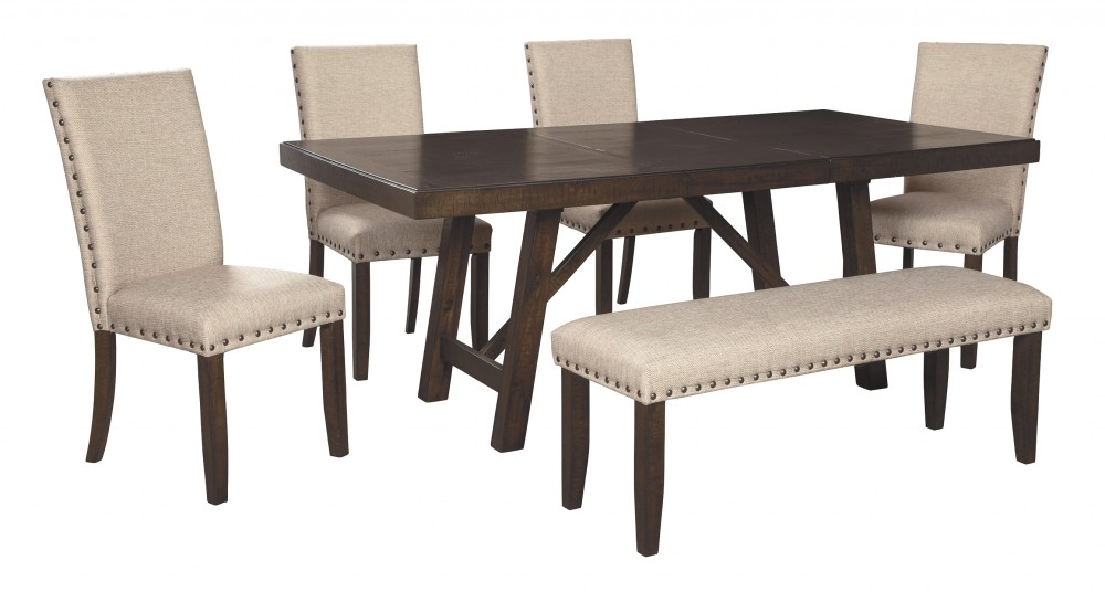 Rokane Dining Table And 4 Chairs And Bench D397 35 02 4 00 Dining Room Groups Goree S Furniture Express Al