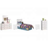 Lulu - Twin Panel Headboard with Mirrored Dresser, Chest and 2 Nightstands