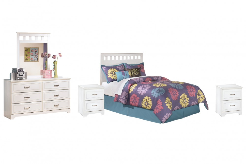 Lulu - Full Panel Headboard with Mirrored Dresser and 2 Nightstands