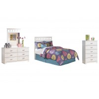 Lulu - Full Panel Headboard with Mirrored Dresser and Chest