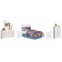 Lulu - Full Panel Headboard with Mirrored Dresser, Chest and 2 Nightstands